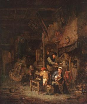 Adriaen Jansz Van Ostade : Interior with a Peasant Family